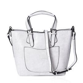 100% Genuine Leather White Colour Tote Bag (Size 32x25x12.5x24 Cm) with Detachable Shoulder Strap