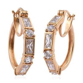 J Francis Made with Swarovski Zirconia Hoop Earrings in Gold Plated Sterling Silver 7.1 Grams