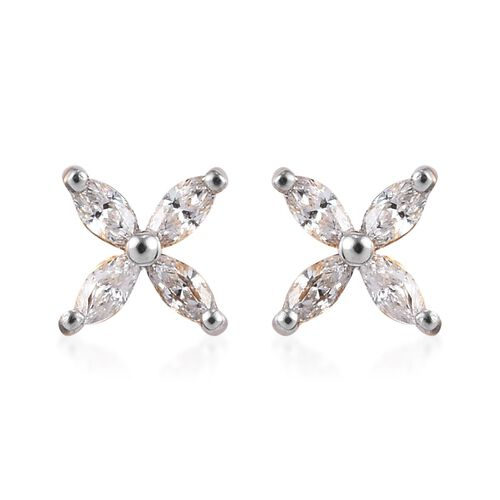 J Francis Made with SWAROVSKI ZIRCONIA 4 Petal Flower Earring in Gold plated Sterling Silver