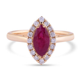 ILIANA 18K Yellow Gold AAA Burmese Ruby and Diamond (SI/G-H) Ring 1.10 Ct.