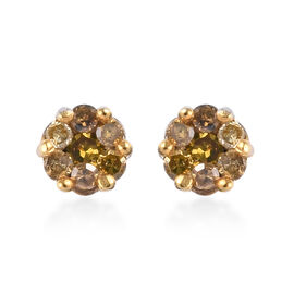 Yellow Diamond Pressure Set Floral Stud Earrings in Platinum Plated Sterling Silver