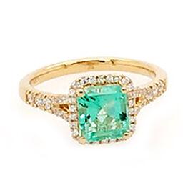 ILIANA 18K Yellow Gold AAA Boyaca Colombian Emerald (Oct 7x6.5mm), Diamond (SI/G-H) Ring 1.70 Ct.