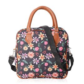 Water Resistant Black and Multi Colour Flower and Leaves Pattern Tote Bag (Size 30x29.5x13.5 Cm)