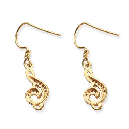 0.10 Carat Diamond Musical Note Hook Earrings in 14K Gold Overlay Sterling Silver