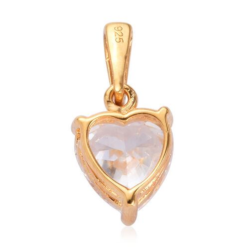 J Francis 14K Gold Overlay Sterling Silver Heart Pendant Made with SWAROVSKI ZIRCONIA 3.23 Ct.