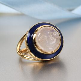 GP Celestial Dream Collection - Rainbow Moonstone, Natural Cambodian Zircon and Kanchanaburi Blue Sapphire Ring in 14K Gold Overlay Sterling Silver 5.17 Ct.