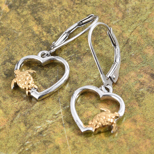 Platinum and Yellow Gold Overlay Sterling Silver Tortoise Lever Back Earrings