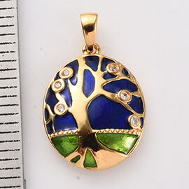 GP - Natural Cambodian Zircon and Blue Sapphire Enamelled Tree Pendant in 14K Gold Overlay Sterling