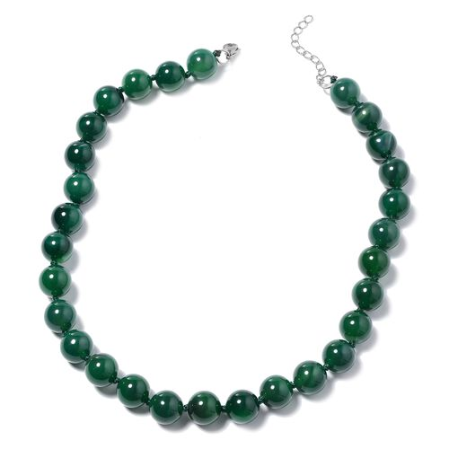 Green Agate Beaded Necklace in Stainless Steel 18 with 2 inch Extender