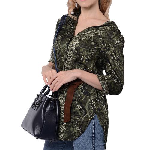 100% Genuine Leather Handbag with Detachable Shoulder Strap and Zipper Closure (Size 30x12x20cm) - Blue