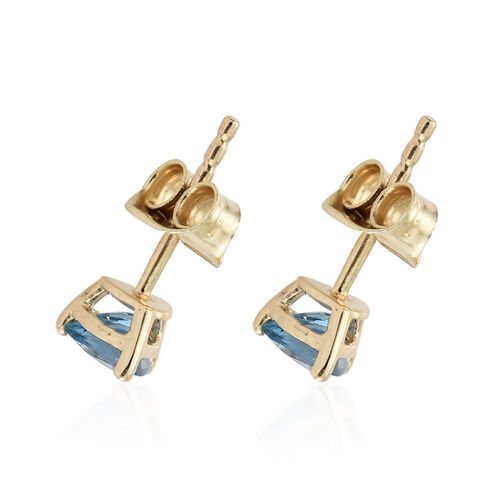 Super Auction-9K Yellow Gold Santa Maria Aquamarine (Trl) Stud Earrings (with Push Back) 0.750 Ct.