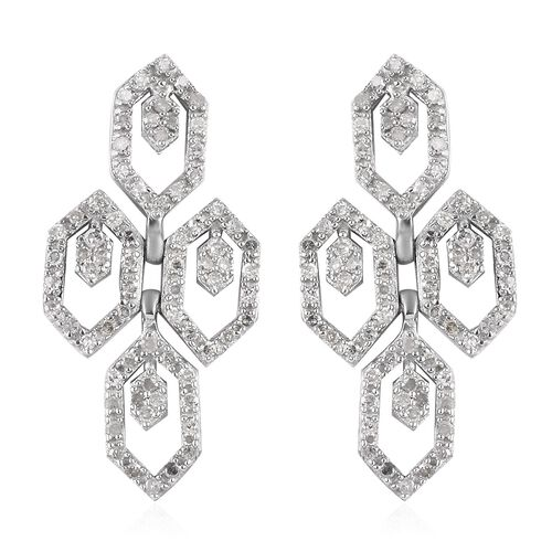 Diamond Dangle Earrings (with Push Back) in Platinum Overlay Sterling Silver 0.50 Ct.