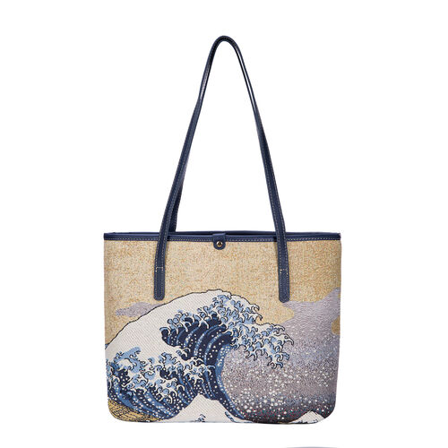 Signare Tapestry - Great Wave of Kanagawa Artwork Tote Bag (Beige) with Dark Blue Scarf