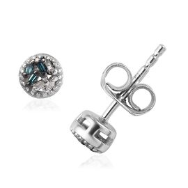 Teal Blue and White Diamond (Bgt) Earrings (with Push Back) in Platinum Overlay Sterling Silver 0.04