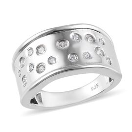 J Francis - Platinum Overlay Sterling Silver (Rnd) Ring Made with SWAROVSKI ZIRCONIA 0.345 Ct.