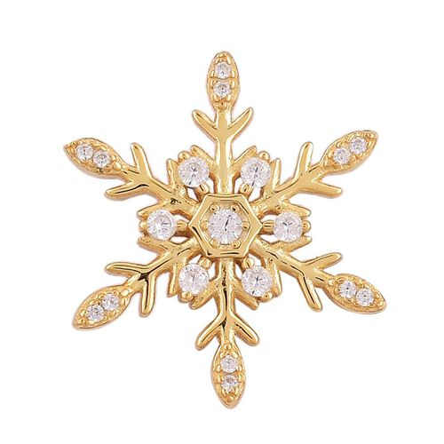 ELANZA AAA Simulated White Diamond (Rnd) Snowflake Pendant in Yellow Gold Overlay Sterling Silver