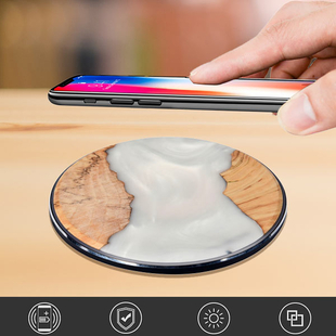 10W Ergonomic Pattern Wireless Fast Charging Pad with USB Cable - White and Brown