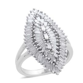 Show Stopper- Fire Cracker Diamond (Bgt) Ring (Size P) in Platinum Overlay Sterling Silver 1.500 Ct. Silver w