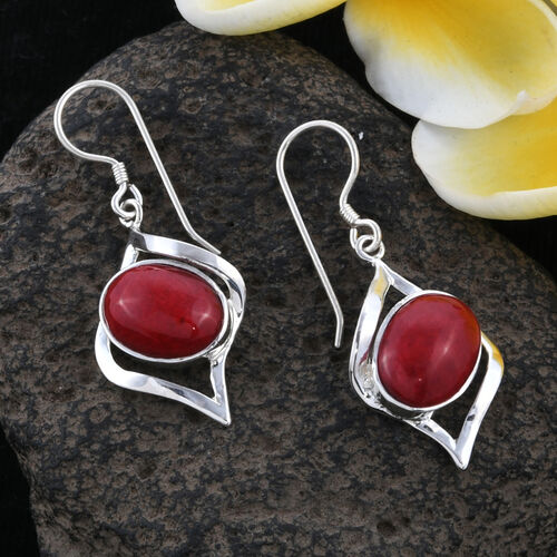 One Time Mega Deal-Royal Bali Collection Sponge Coral (Ovl), Hook Earrings in Sterling Silver