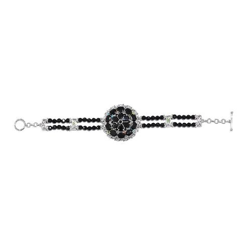 Boi Ploi Black Spinel and Multi Gemstone Bracelet (Size 7.5) in Platinum Overlay Sterling Silver 38.