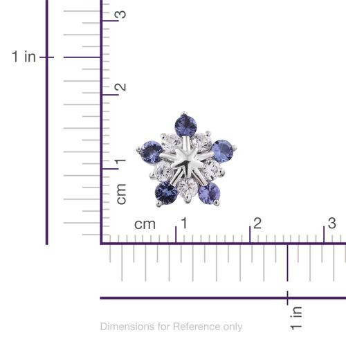 9K White Gold 1.75 Ct AA Tanzanite Snowflake Earrings (with Push Back) with Natural Cambodian Zircon