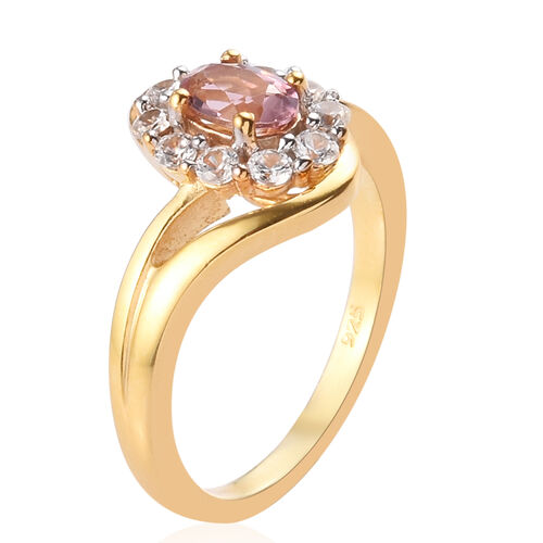 AA Pink Tourmaline and Natural Cambodian Zircon Ring in 14K Yellow Gold Overlay Sterling Silver 0.80 Ct.