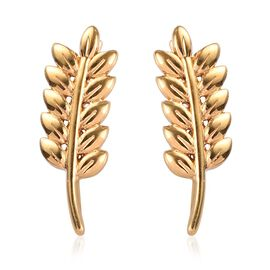 14K Yellow Gold Overlay Sterling Silver Leaf Climber Earrings