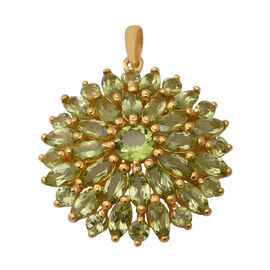8.52 Ct AA Hebei Peridot Floral Cluster Pendant in Yellow Gold Plated Sterling Silver