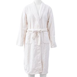 Microfibre Braided Pattern Robe with Shawl Collar and Two Pockets (Size 65x120 Cm) - Ivory