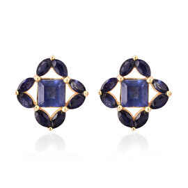 Isabella Liu Floral Collection - Masoala Sapphire Stud Earrings (with Push Back) in Yellow Gold Over