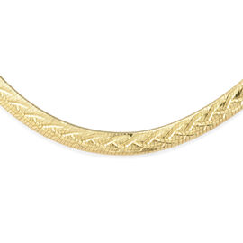 14K Gold Overlay Sterling Silver Herringbone Necklace (Size 18 with 2 inch Extender), Silver wt 12.7