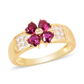 ELANZA Simulated Ruby and Simulated Diamond Four-Leaf Clover Ring in Yellow Gold Overlay Sterling Si