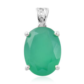 Verde Onyx (Ovl 16x12 mm) Pendant in Sterling Silver 7.66 Ct.