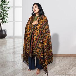 Bali Collection Tenun Throw in Lasem Motif  (Size 120x220Cm) - Black and Multi