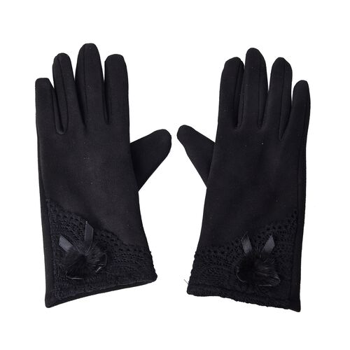 Solid Colour Women Winter Gloves with Lace and Faux Fur Ball on the Wrist (Size 8.9x22.9 Cm) - Black