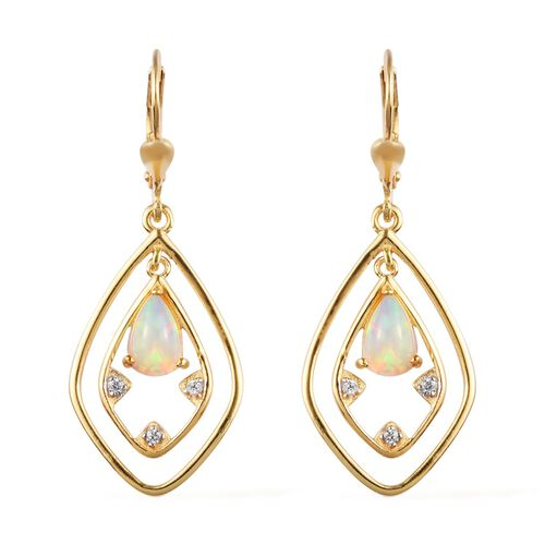 Ethiopian Welo Opal and Natural Cambodian Zircon Lever Back Dangle Earrings in 14K Gold Overlay Ster