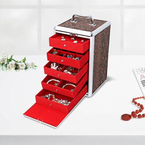 New Arrival- Five Tier Anti-Tarnish Snake Skin Pattern Jewellery Box with Lock and Handle - Chocolat