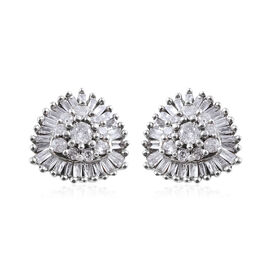 9K White Gold Diamond (Rnd and Bgt) (I3/G-H) Stud Earrings (with Push Back) 0.330 Ct.