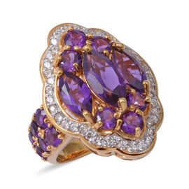 Amethyst (Mrq and Rnd), Natural White Cambodian Zircon Ring in Yellow Gold and Rhodium Overlay Sterl