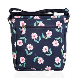 Navy Blue Colour Floral Pattern Water Resistant Crossbody Bag with Adjustable Shoulder Strap (Size 2