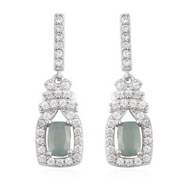 Grandidierite (Cush), Natural White Cambodian Zircon Earrings (with Push Back) in Rhodium Overlay St