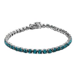 J Francis - Crystal from Swarovski Blue Zircon Crystal (Rnd) Bracelet (Size 7.5) in Platinum Plated