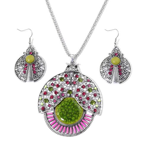 Simulated Green Jade, Simulated Pink Howlite and Multi Colour Austrian Crystal Beetle Design Pendant With Chain (Size 28) and Hook Earrings in Silver Tone