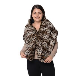 Leopard Pattern Faux Fur Winter Wrap (Size 27.5x150 Cm) - Brown and Black
