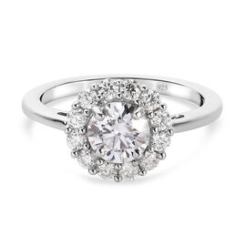 Moissanite Ring in Platinum Overlay Sterling Silver 1.21 Ct.