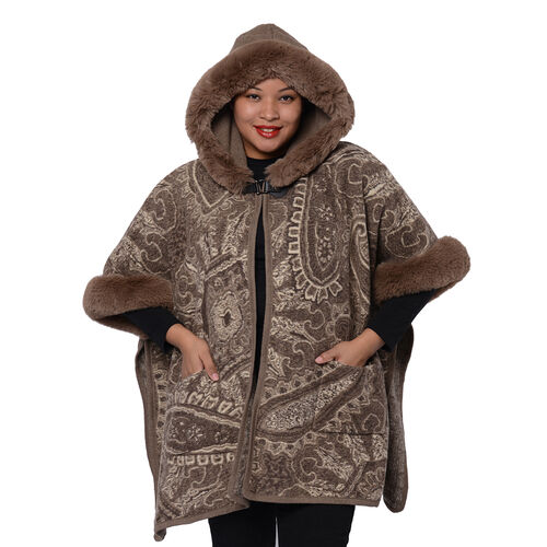 Cashew Flower Pattern Long Cape with Faux Fur Hood and Sleeves  (One Size) - Light Brown and Off White