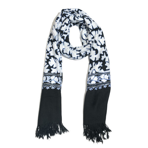 100% Merino Wool Black, White and Blue Colour Hand Embroidered Shawl with Fringes  Size 190x70 Cm