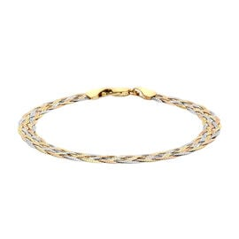 Italian Made Chain Bracelet in 9K Yellow and White Gold 7.25 Inch