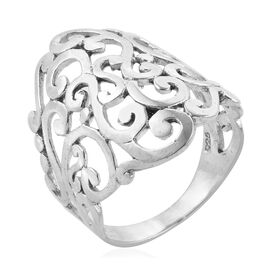 Royal Bali Collection Sterling Silver Filigree Wide Band Ring, Silver Wt: 5.51 Gms