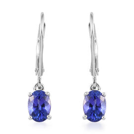 RHAPSODY 950 Platinum AAAA Tanzanite Lever Back Earrings 1.75 Ct.